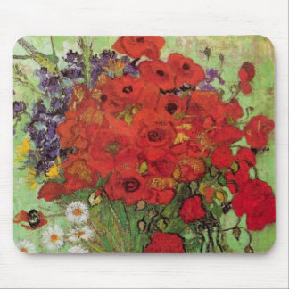 Van Gogh Still Life Flower Red Poppies and Daisies Mouse Pad