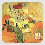 Van Gogh; Still Life Japanese Vase Roses Anemones Square Stickers