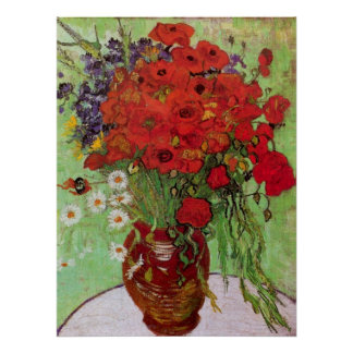 Van Gogh Still Life Red Poppies and Daisies Posters