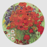 Van Gogh; Still Life: Red Poppies and Daisies Round Sticker