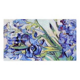 Van Gogh Still Life Vase with Irises, Vintage Art Business Card