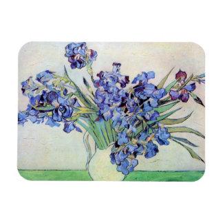 Van Gogh Still Life Vase with Irises, Vintage Art Rectangular Magnet