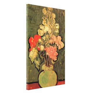 Van Gogh Still Life Vase with Rose Mallow Flowers Gallery Wrap Canvas
