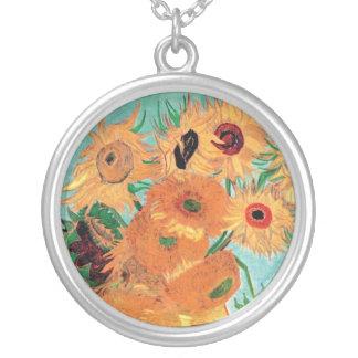 Van Gogh - Still Life Vase With Twelve Sunflowers Round Pendant Necklace