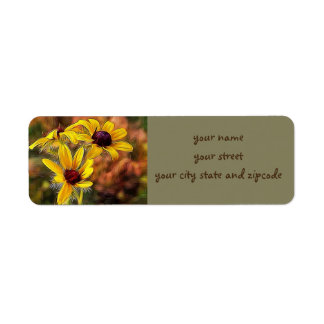 Van Gogh Style Black Eyed Susan Flowers Return Address Label