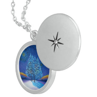 Van Gogh Style Blue Christmas Round Locket Necklace