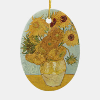 Van Gogh Sunflowers Ceramic Oval Decoration
