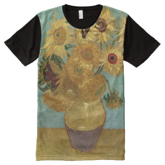 Van Gogh Sunflowers (F455) Vintage Fine Art All-Over Print T-Shirt