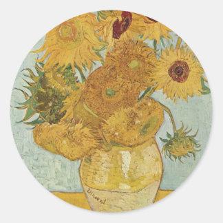 Van Gogh Sunflowers Classic Round Sticker
