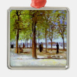 Van Gogh: Terrace in the Luxembourg Garden Silver-Colored Square Decoration
