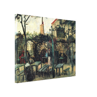Van Gogh Terrace of a Cafe on Montmartre Stretched Canvas Print