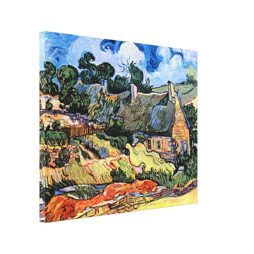 Van Gogh - Thatched Cottages At Cordeville Stretched Canvas Prints