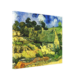 Van Gogh Thatched Cottages at Cordeville, Fine Art Gallery Wrapped Canvas