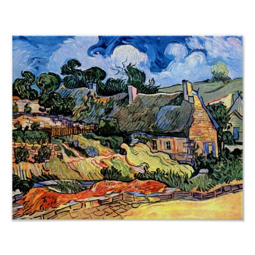 Van Gogh - Thatched Cottages At Cordeville Poster