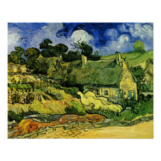 Van Gogh; Thatched Cottages at Cordeville Posters