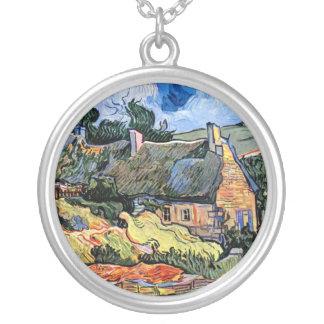 Van Gogh - Thatched Cottages At Cordeville Round Pendant Necklace