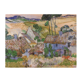 Van Gogh; Thatched Cottages by a Hill Wood Prints