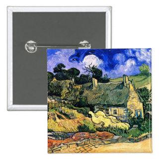 Van Gogh Thatched Cottages Cordeville Fine Vintage 15 Cm Square Badge