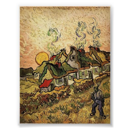 Van Gogh - Thatched Cottages in the Sunshine Poster