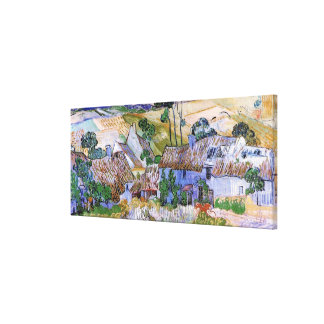 Van Gogh Thatched Roof Cottages by Hill, Fine Art Canvas Prints