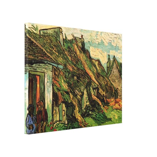 Van Gogh; Thatched Sandstone Cottages in Chaponval Stretched Canvas Prints