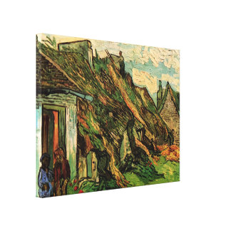 Van Gogh; Thatched Sandstone Cottages in Chaponval Canvas Print