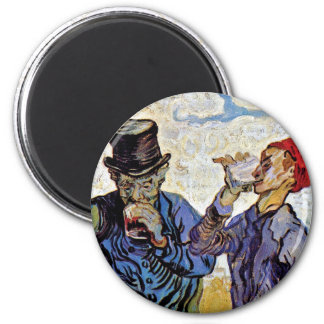 Van Gogh - The Drinkers 6 Cm Round Magnet