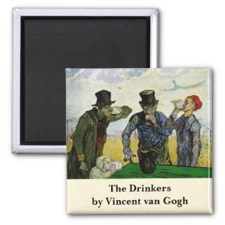 Van Gogh, The Drinkers, Vintage Post Impressionism Square Magnet