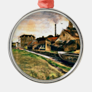Van Gogh: The Factory of Enthoven on the Zieken Silver-Colored Round Decoration