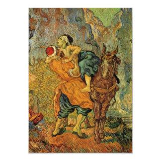 Van Gogh The Good Samaritan, Vintage Impressionism 13 Cm X 18 Cm Invitation Card