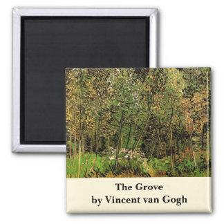 Van Gogh The Grove, Vintage Impressionism Art Square Magnet