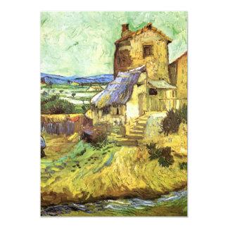 Van Gogh The Old Mill, Vintage Landscape Fine Art 13 Cm X 18 Cm Invitation Card