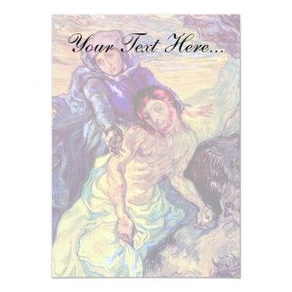 Van Gogh - The Pieta (After Delacroix) 13 Cm X 18 Cm Invitation Card