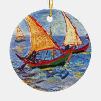 Van Gogh - The Sea At Saintes Maries Christmas Tree Ornaments