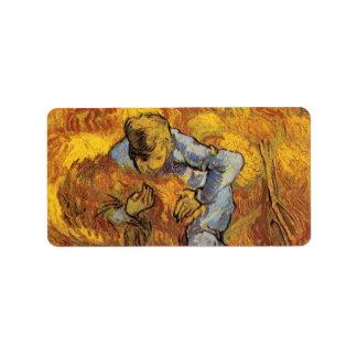 Van Gogh, The Sheaf Binder, Vintage Impressionism Address Label