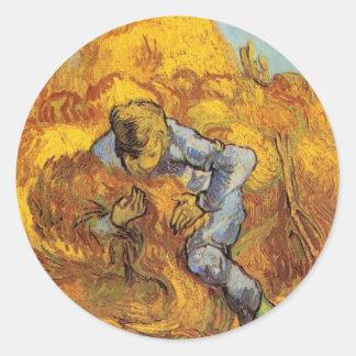 Van Gogh, The Sheaf Binder, Vintage Impressionism Classic Round Sticker