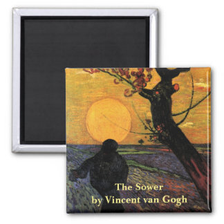 Van Gogh; The Sower, Vintage Peasant Farmer Square Magnet