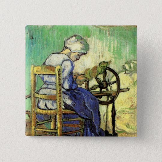 Van Gogh, The Spinner, Vintage Impressionism Art 15 Cm Square Badge