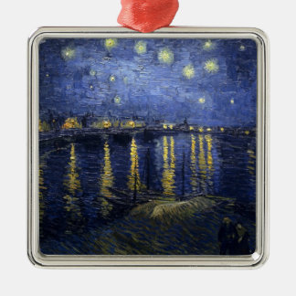 Van Gogh, The Starry Night, 1888 Silver-Colored Square Decoration