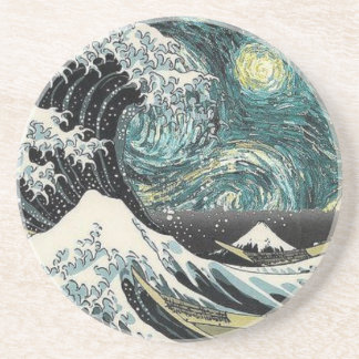 Van Gogh The Starry Night - Hokusai The Great Wave Coaster