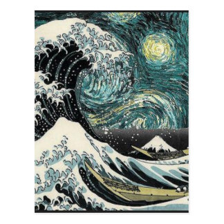 Van Gogh The Starry Night - Hokusai The Great Wave Postcard