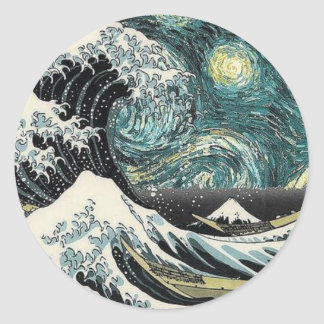 Van Gogh The Starry Night - Hokusai The Great Wave Round Sticker