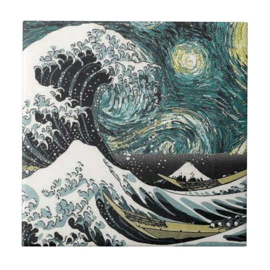 Van Gogh The Starry Night - Hokusai The Great Wave Small Square Tile