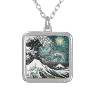 Van Gogh The Starry Night - Hokusai The Great Wave Square Pendant Necklace