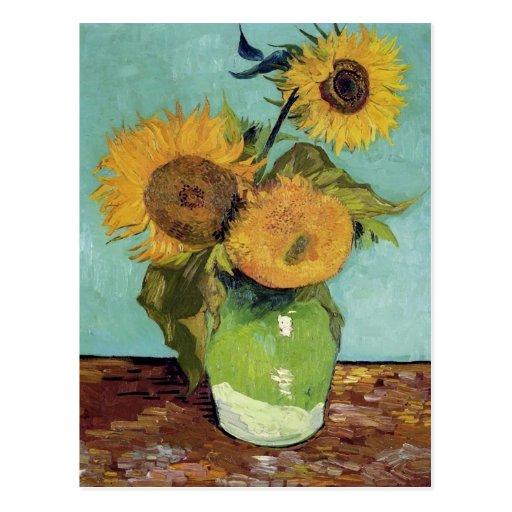 Van Gogh Three Sunflowers in a Vase (F453) Post Card