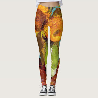 Van Gogh - Three Sunflowers In A Vase - Fine Art Leggings