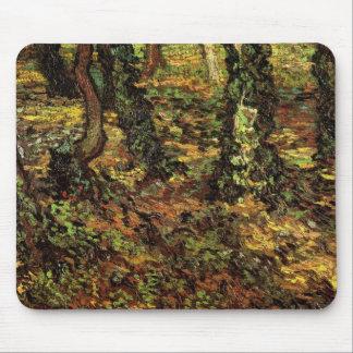 Van Gogh Tree Trunks w Ivy, Vintage Impressionism Mouse Pad