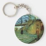 Van Gogh Trinquetaille Bridge, Vintage Fine Art Basic Round Button Key Ring