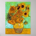 Van Gogh Twelve Sunflowers Poster