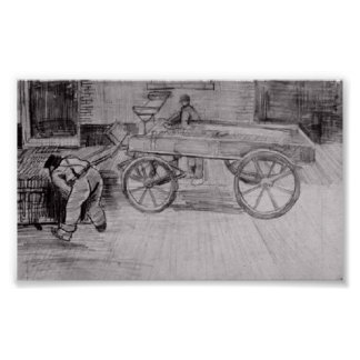 Van Gogh - Two Men with a Four-Wheeled Wagon Posters